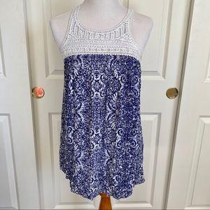 Aeropostale Crochet Trim Tunic Sleeveless Top XS